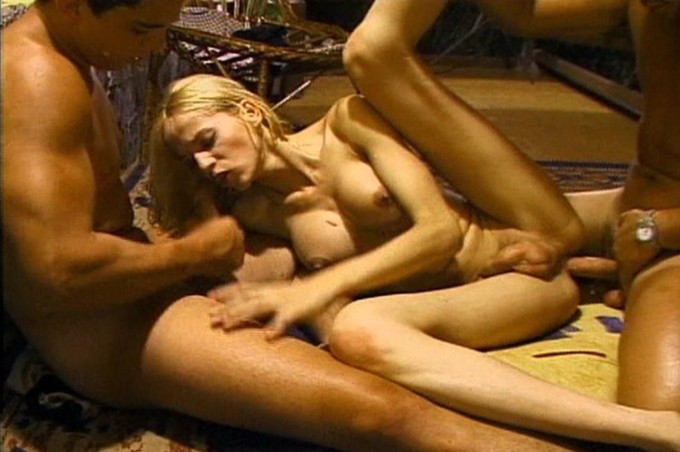 Buxom Blond Gets Double Teamed By Two Buddies
