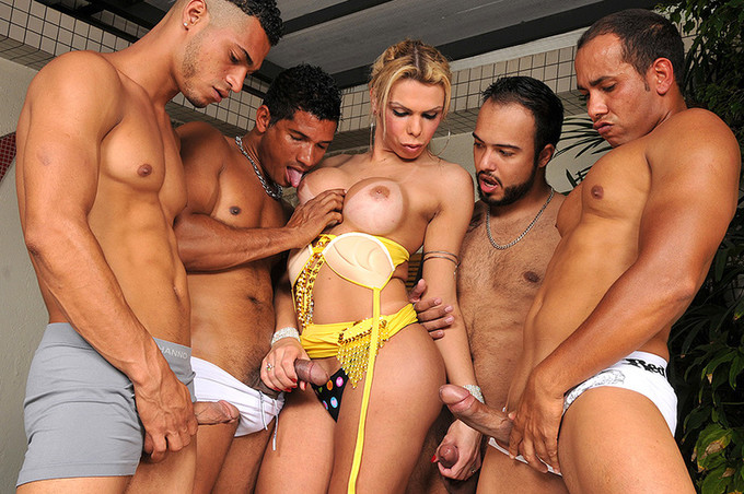 Trans Porn Star Lara Gets Gangbanged By Four Guys