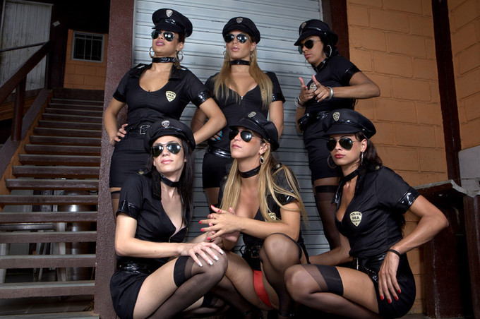Six Tranny Officers Spread Alex For Intense Group Sex