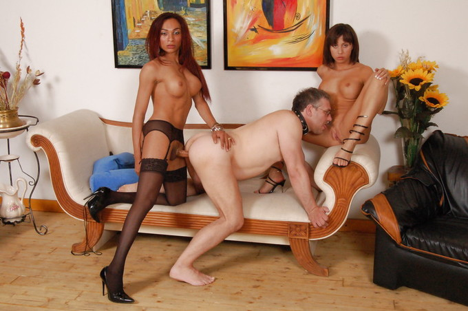 Tranny Dominatrix And Male Slave Work A Female